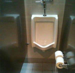 Toilet paper dispensers by a urinal?